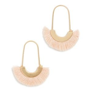 🆕 Madewell Arc Wire Fringe Earrings Pink Cream Natural NWT